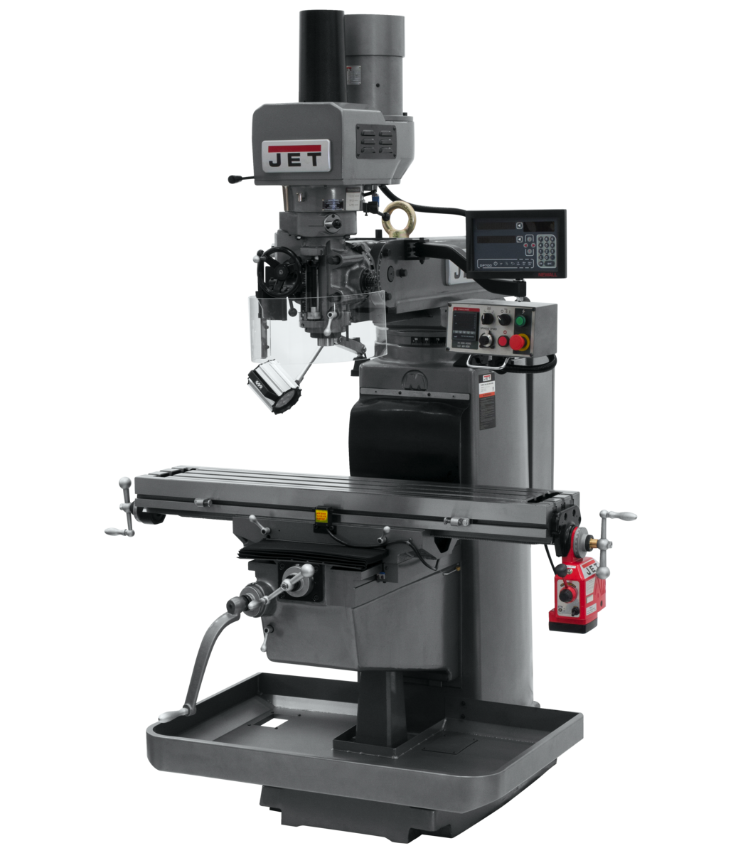JTM-1050EVS2/230 Mill With 3-Axis Newall DP700 DRO (Knee) With X-Axis Powerfeed and Air Powered Draw Bar