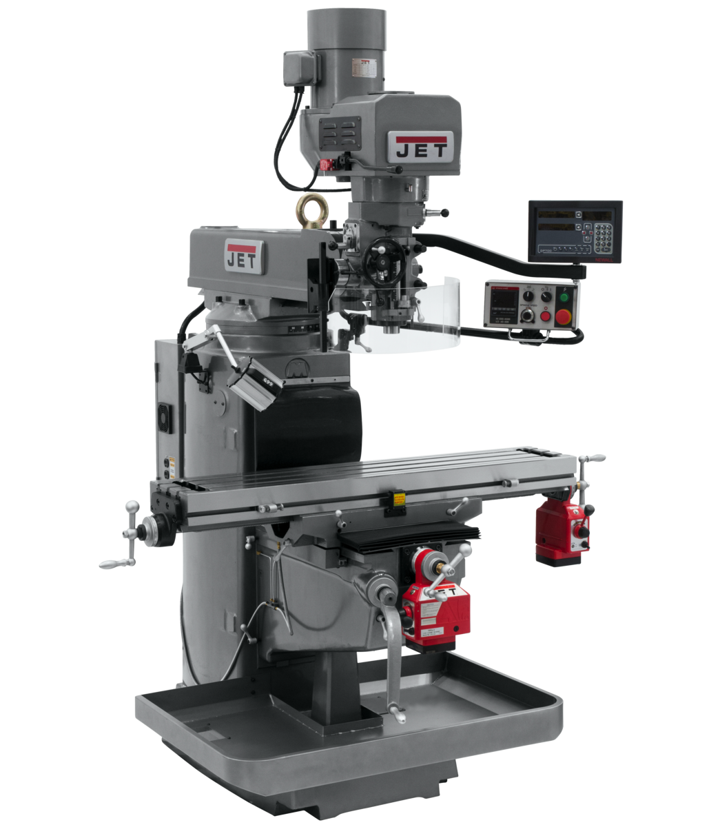 JTM-1050EVS2/230 Mill With 3-Axis Newall DP700 DRO (Knee) With X and Y-Axis Powerfeeds