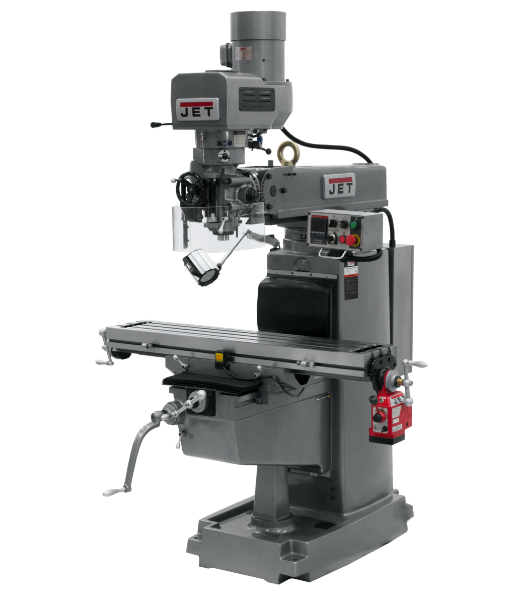 JTM-1050EVS2/230 Mill With 3-Axis Newall DP700 DRO (Knee) With X and Y-Axis Powerfeeds and Air Powered Draw Bar