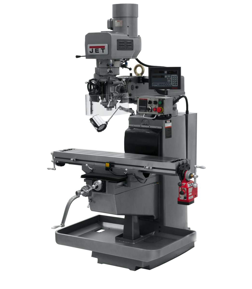 JTM-1050EVS2/230 Mill With 3-Axis Newall DP700 DRO (Quill) With X-Axis Powerfeed