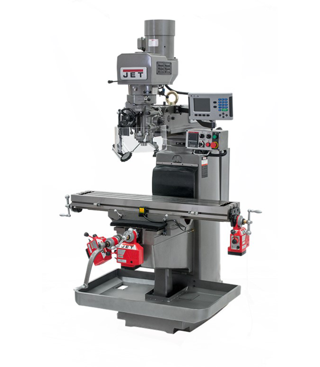 JTM-1050EVS2/230 Mill With 3-Axis Acu-Rite 303 DRO (Knee) With X, Y and Z-Axis Powerfeeds and Air Powered Draw Bar