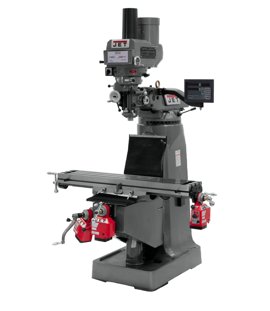 JTM-4VS-1 Mill With 3-Axis Newall DP700 DRO (Quill) With X, Y and Z-Axis Powerfeeds and Power Draw Bar