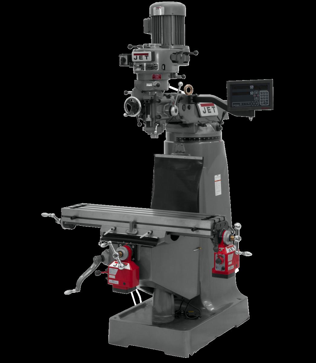 Fresadora JTM-2 con visualizador de posición digital NEWALL DP700 de 3 ejes (eje hueco) y con alimentación automática ejes X e Y instalados