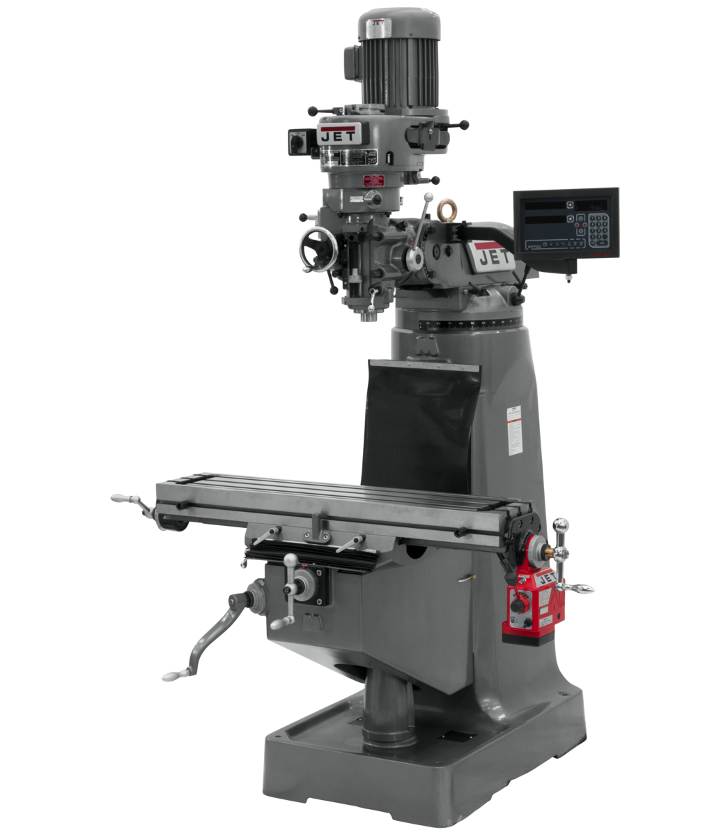JTM-1 Mill With 3-Axis Newall DP700 DRO (Quill) With X-Axis Powerfeed
