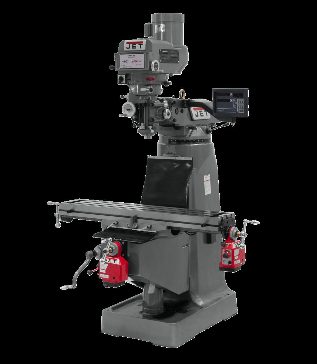 Fresadora JTM-4VS con visualizador de posición digital NEWALL DP700 y alimentación automática ejes X e Y instalados