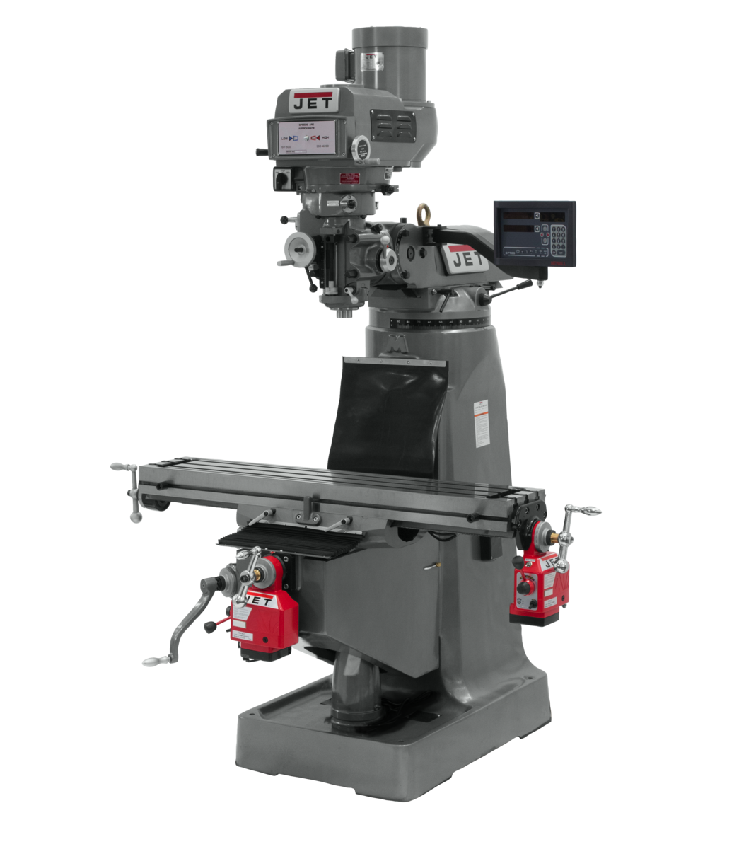 JTM-4VS Mill With 3-Axis Newall DP700 DRO (Quill) With X and Y-Axis Powerfeeds