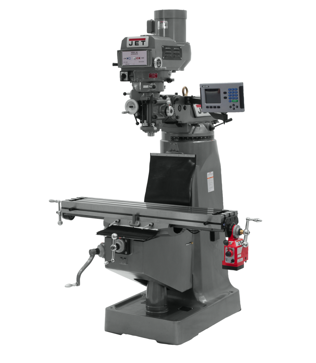 JTM-4VS-1 Mill With 3-Axis ACU-RITE 203 DRO (Knee) With X-Axis Powerfeed