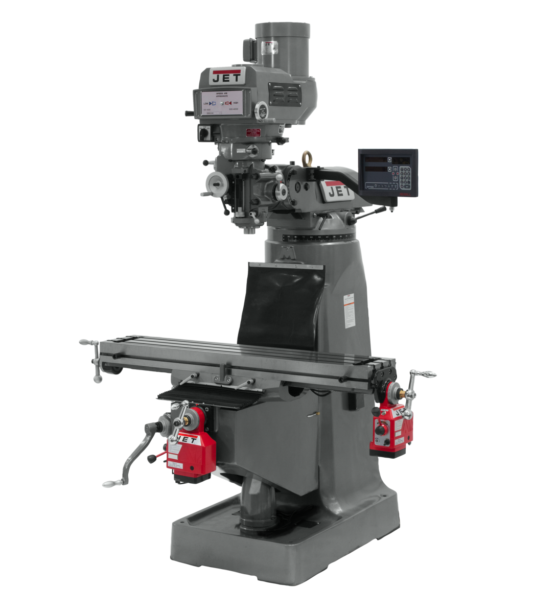 """JTM-4VS-1 Mill With Newall DP700 DRO With X and Y-Axis Powerfeeds and 6"""" Riser Block"""
