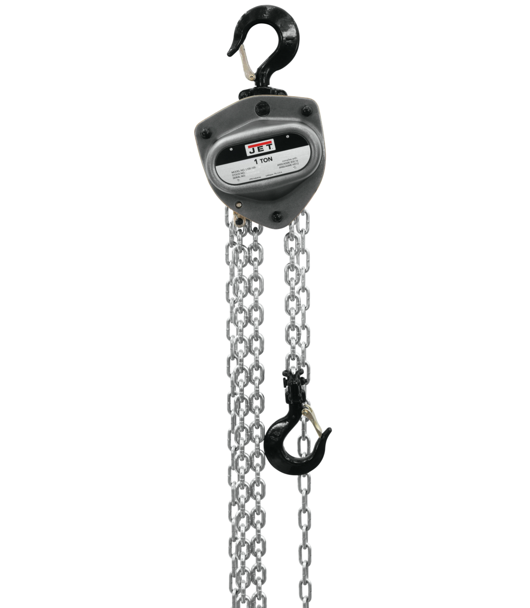 L-100-100WO-15, 1-Ton Hand Chain Hoist With 15' Lift & Overload Protection