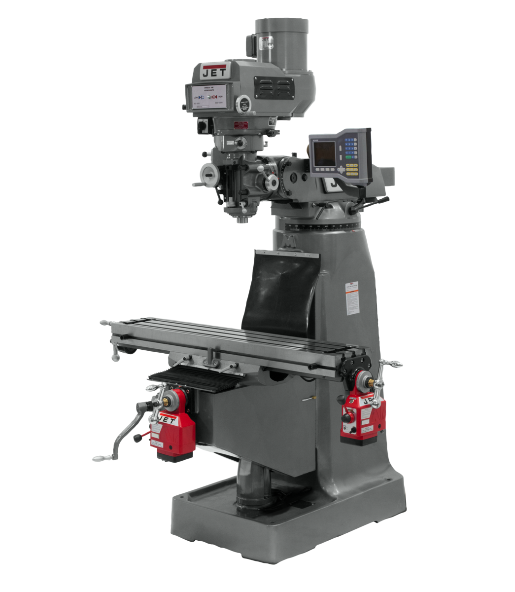 JTM-4VS-1 Mill With 3-Axis ACU-RITE 203 DRO (Knee) With X and Y-Axis Powerfeeds