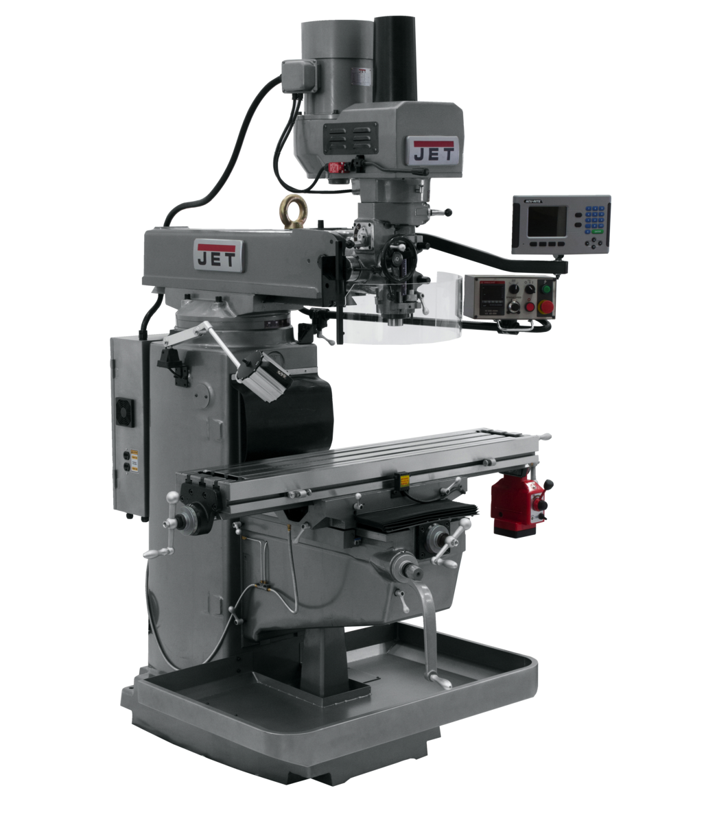 JTM-1050EVS2/230 Mill With 3-Axis Acu-Rite 203 DRO (Knee) With X-Axis Powerfeed and Air Powered Draw