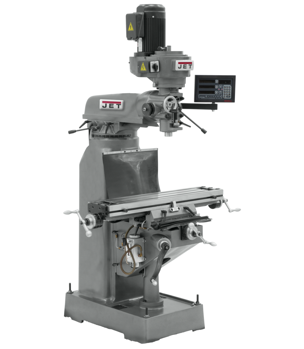 JVM-836-3 Mill With 3-Axis Newall DP700 DRO (Quill) With X and Y-Axis Powerfeeds