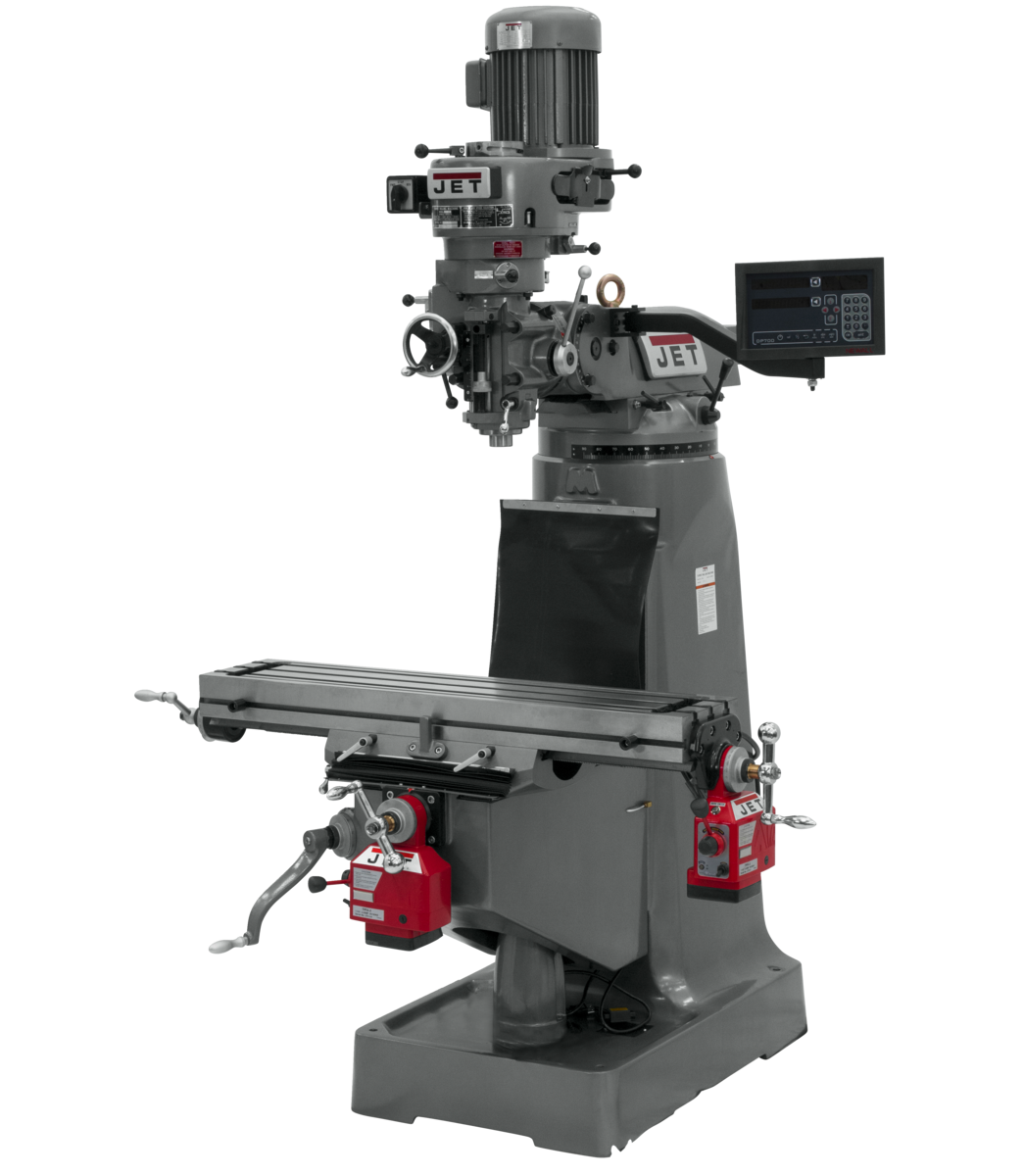 JTM-1 Mill With 3-Axis Newall DP700 DRO (Quill) With X and Y-Axis Powerfeeds