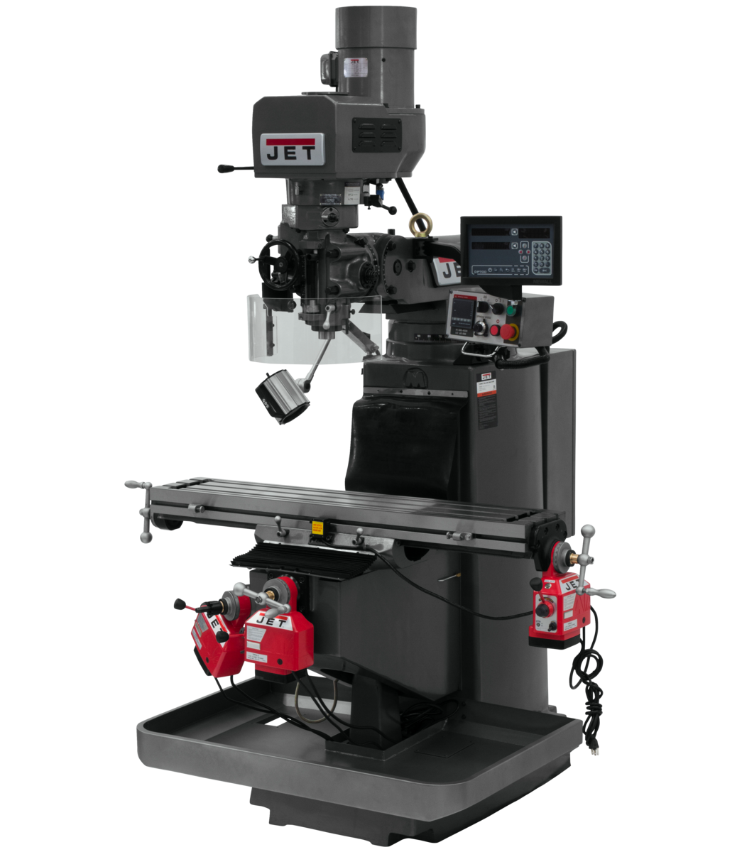 JTM-949EVS Mill With 3-Axis Newall DP700 DRO (Quill) With X, Y and Z-Axis Powerfeeds