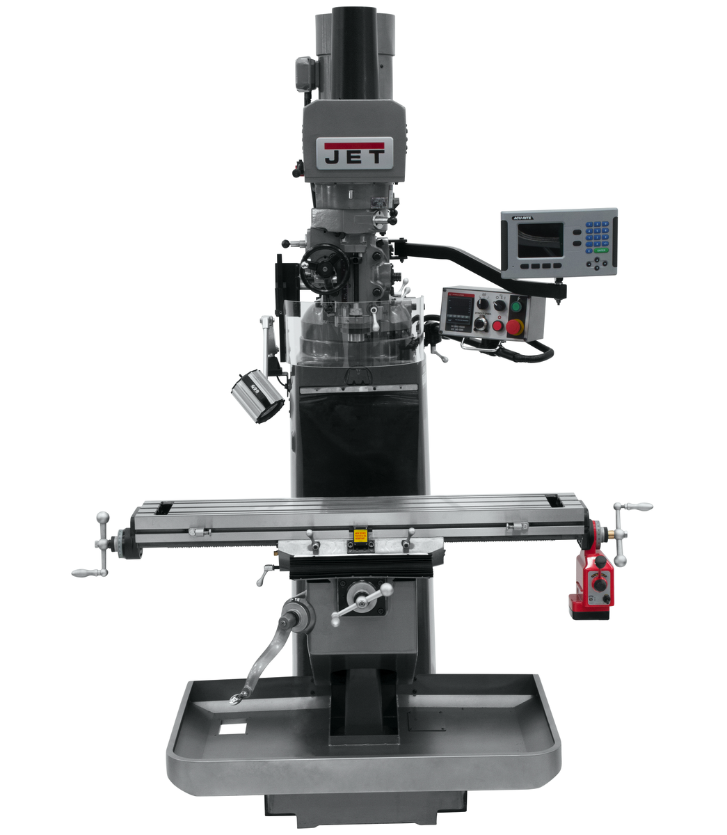 JTM-949EVS Mill With 3-Axis Acu-Rite 203 DRO (Knee) With X-Axis Powerfeed and Air Powered Draw Bar