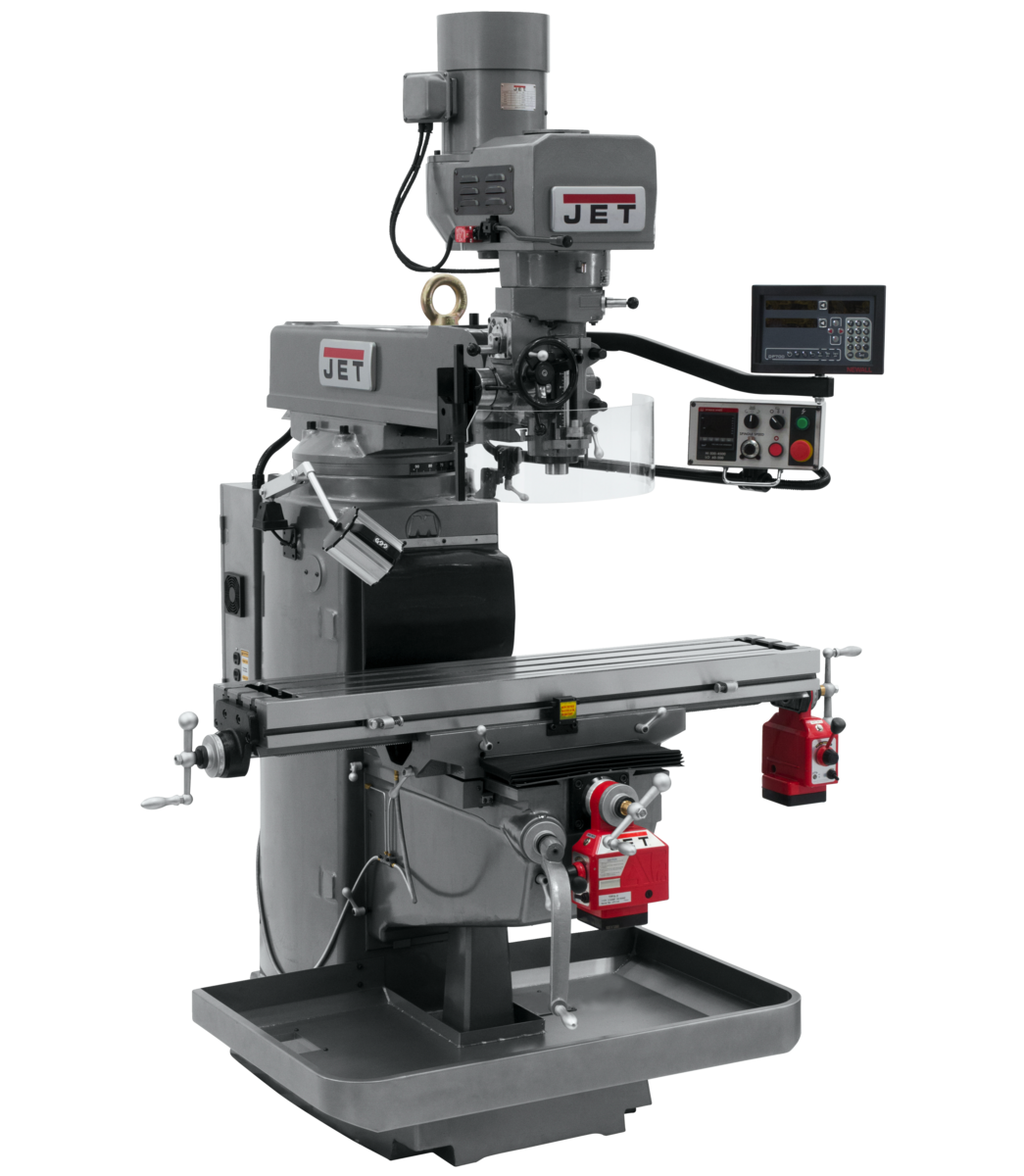 JTM-1050EVS/230 Mill With 3-Axis Newall DP700 DRO (Knee) With X and Z-Axis Powerfeeds