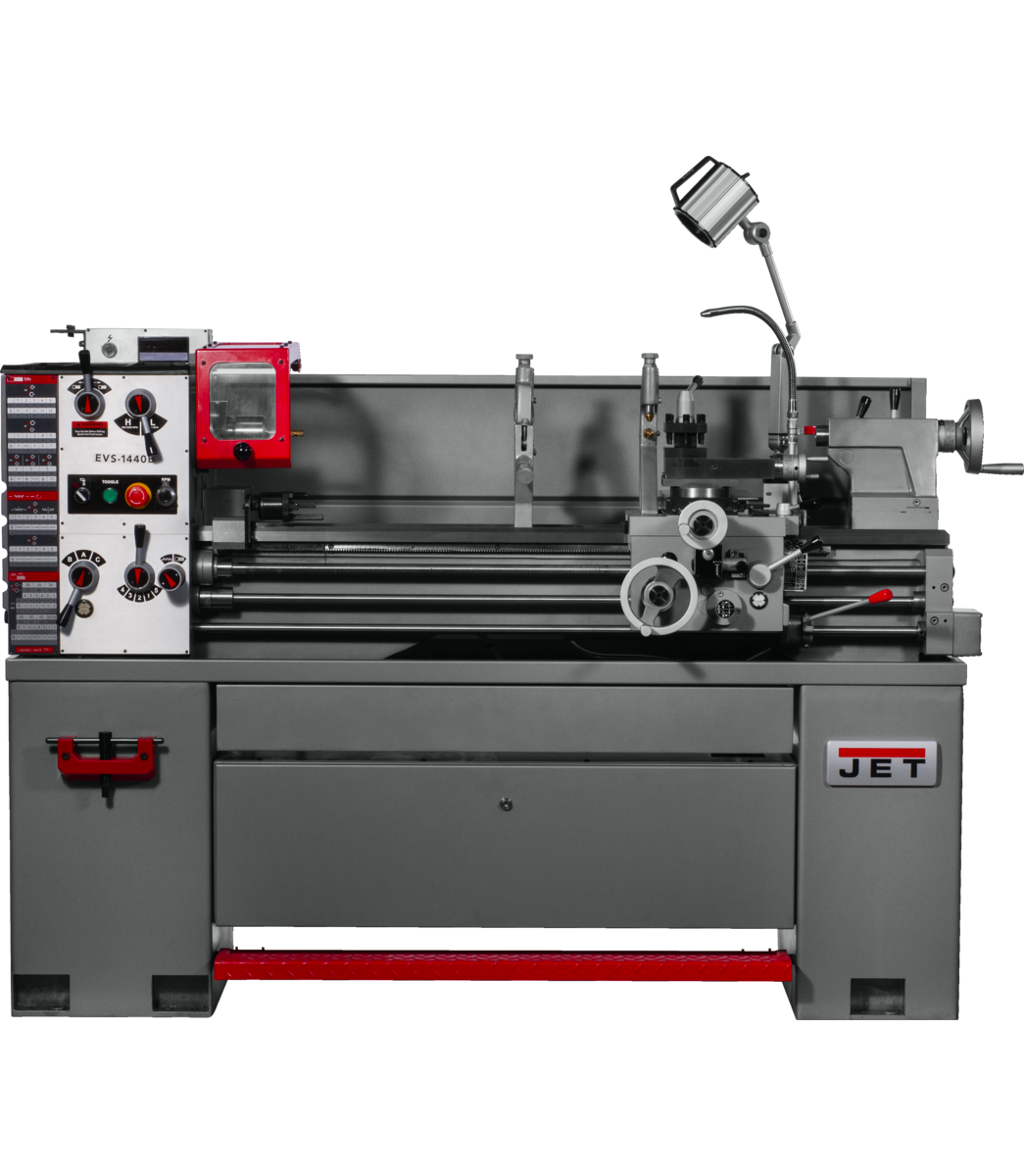 EVS-1440 Electronic Variable Speed lathe with Acu-Rite 203 DRO and Taper Attachment, 3HP